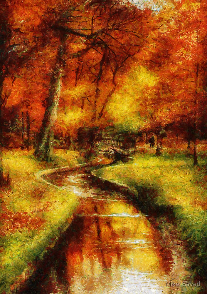 Autumn - By a little bridge - Painting by Michael Savad