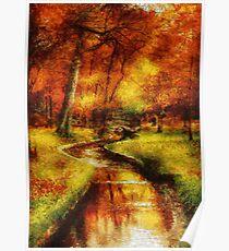 Autumn - By a little bridge - Painting Poster
