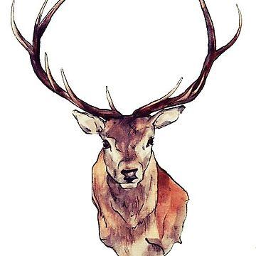 vintage deer hoodie by awkfoxx
