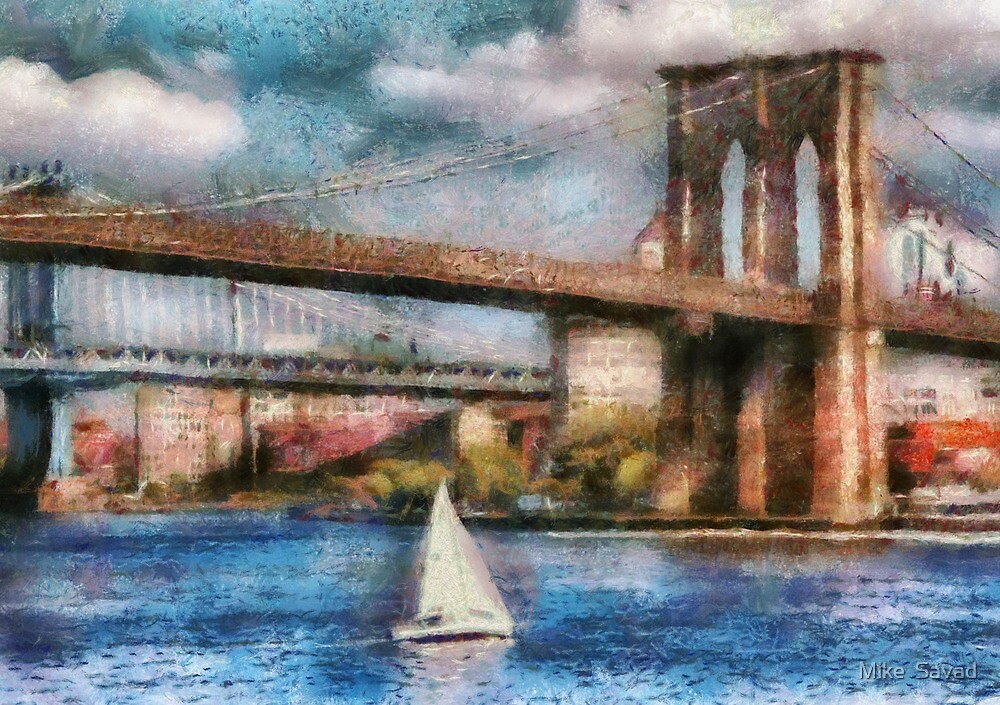 Boat - Sailing under the Brooklyn Bridge by Mike  Savad