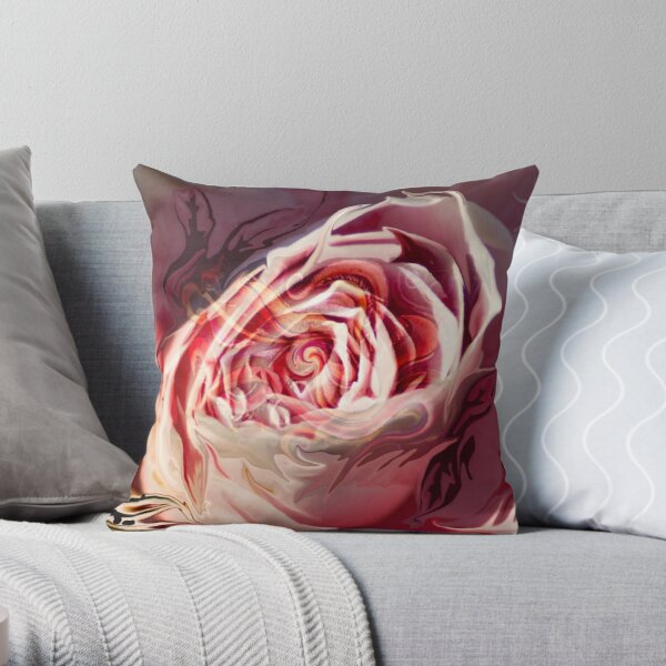 abstract rose blossom Throw Pillow