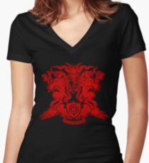 Monster Coat of Arms Women's Fitted V-Neck T-Shirt