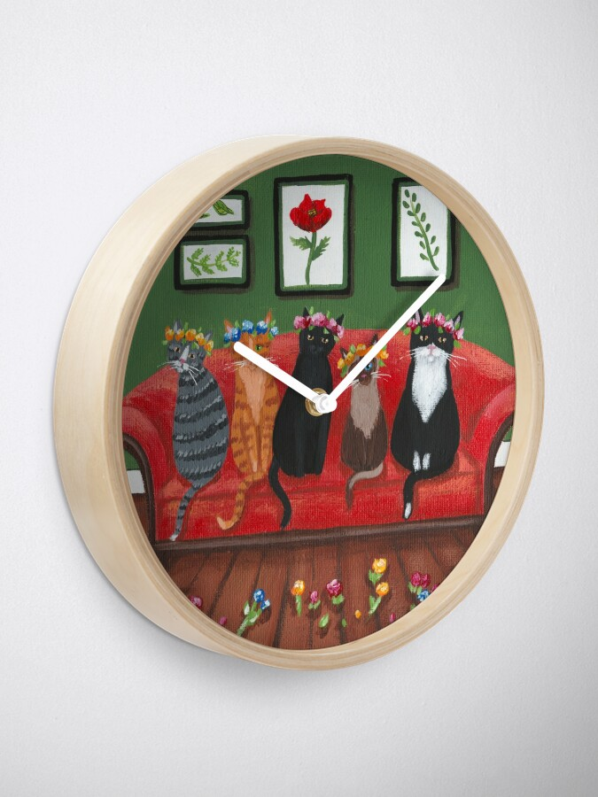 Alternate view of Cats Waiting for Spring Clock