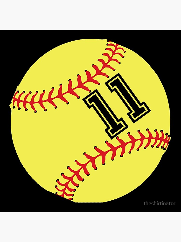 Softball Player Jersey No 11 Back Number #11 Ball Sport Sticker Gift by theshirtinator