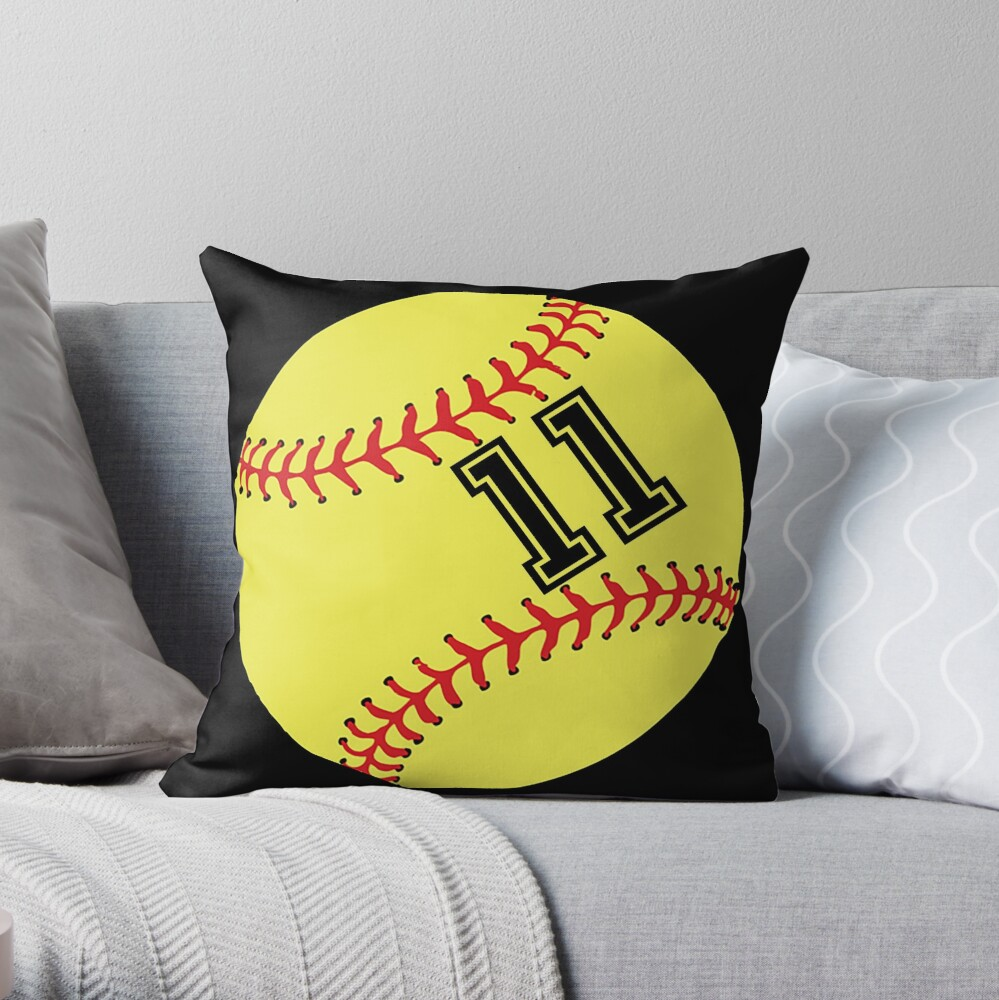 Softball Player Jersey No 11 Back Number #11 Ball Sport Sticker Gift Throw Pillow