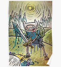 Adventure Time, Finn, Ice King, print, Children's Room , Wall Art, Cartoon Network, Art print, Fin, cartoon, TV, show, sword, blue blood, snow, mountains, backpack Poster