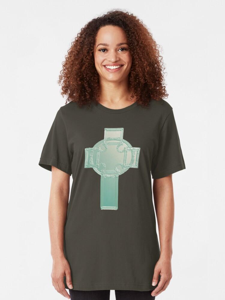 Alternate view of Celtic Cross Aqua/Ecru Bas Relief T-Shirt Slim Fit T-Shirt