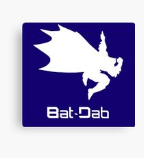 White Bat-Dab (with Text) Canvas Print