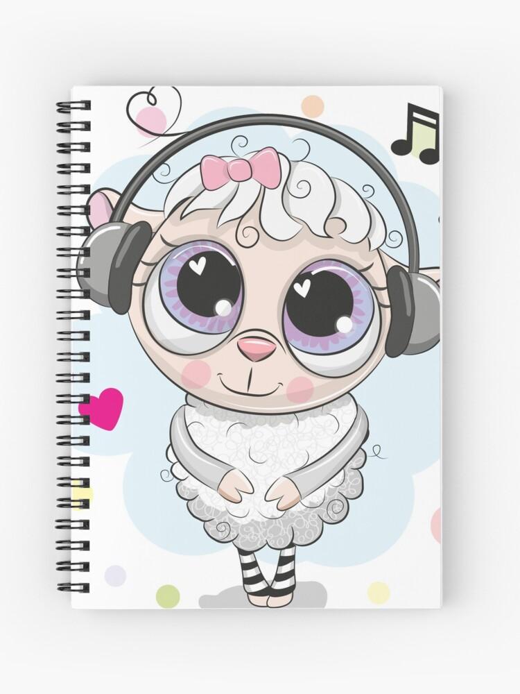 Ovejas De Dibujos Animados Con Ojos Grandes Y Auriculares Cuaderno De Espiral