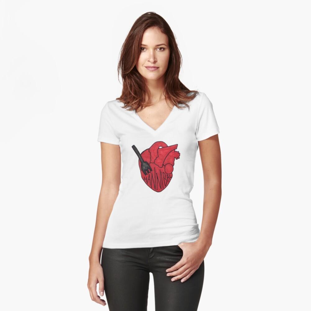 Hannibal - Fork In Heart Women's Fitted V-Neck T-Shirt Front
