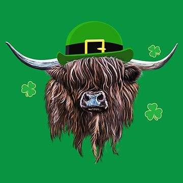 Scottish Highland Cow St Patrick's Day Derby Hat by brodyquixote