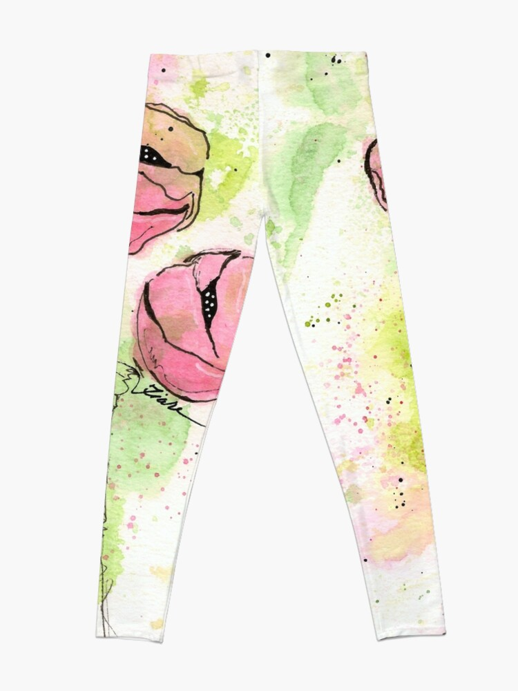 Alternate view of Pink and Green Splotch Flowers Leggings
