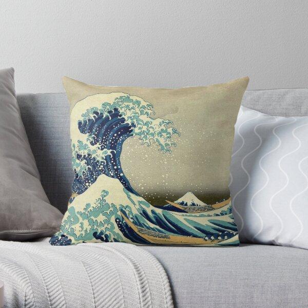 Hokusai, The Great Wave off Kanagawa, Japan, Japanese, Wood block, print. Throw Pillow