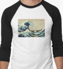 Hokusai, The Great Wave off Kanagawa, Japan, Japanese, Wood block, print Men's Baseball ¾ T-Shirt