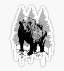 Grizzly bear drawing Sticker