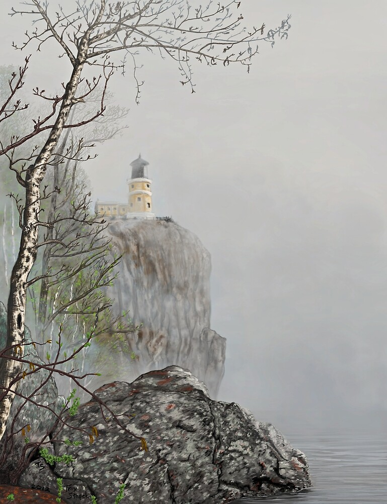 North Shore Lighthouse in the Fog by Troy Stapek