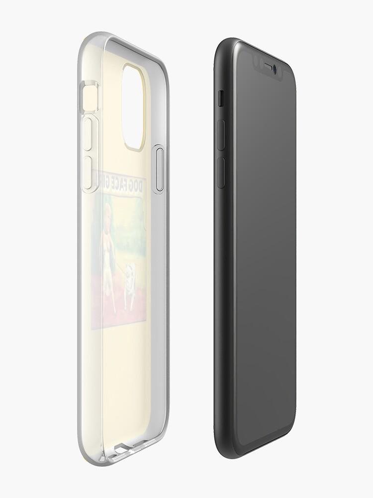 coque apple blanche , Coque iPhone «Chien fille visage de cirque affiche numéro deux», par JLHDesign