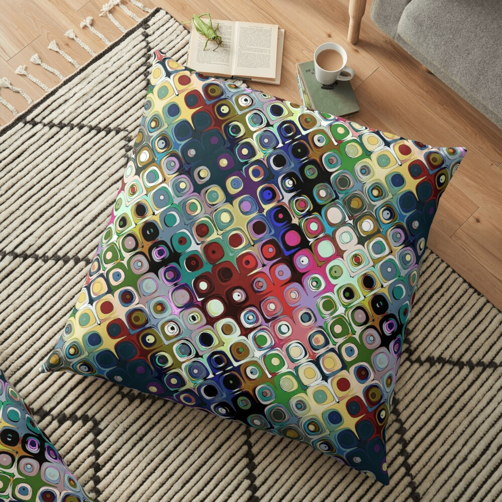 Colorful Circles Pattern Floor Pillow