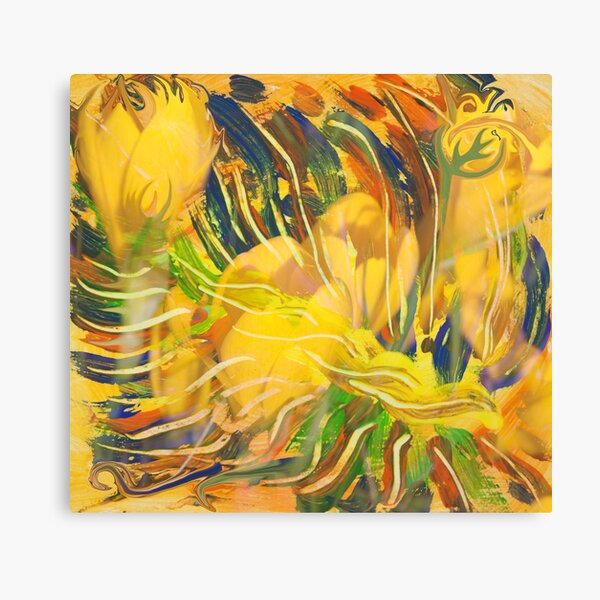 deep yellow flowers abstraction Canvas Print