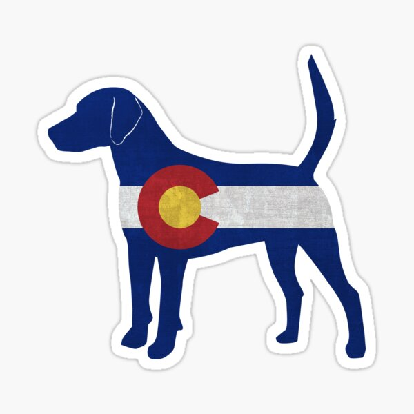 Harrier Hound Silhouette filled with Colorado Flag Sticker