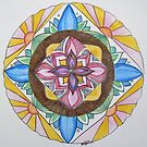 Mandala blue watercolor, 4 points by Naquaiya