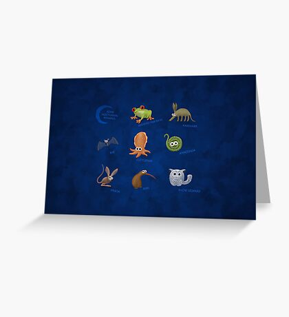 Nocturnal Animals Greeting Card