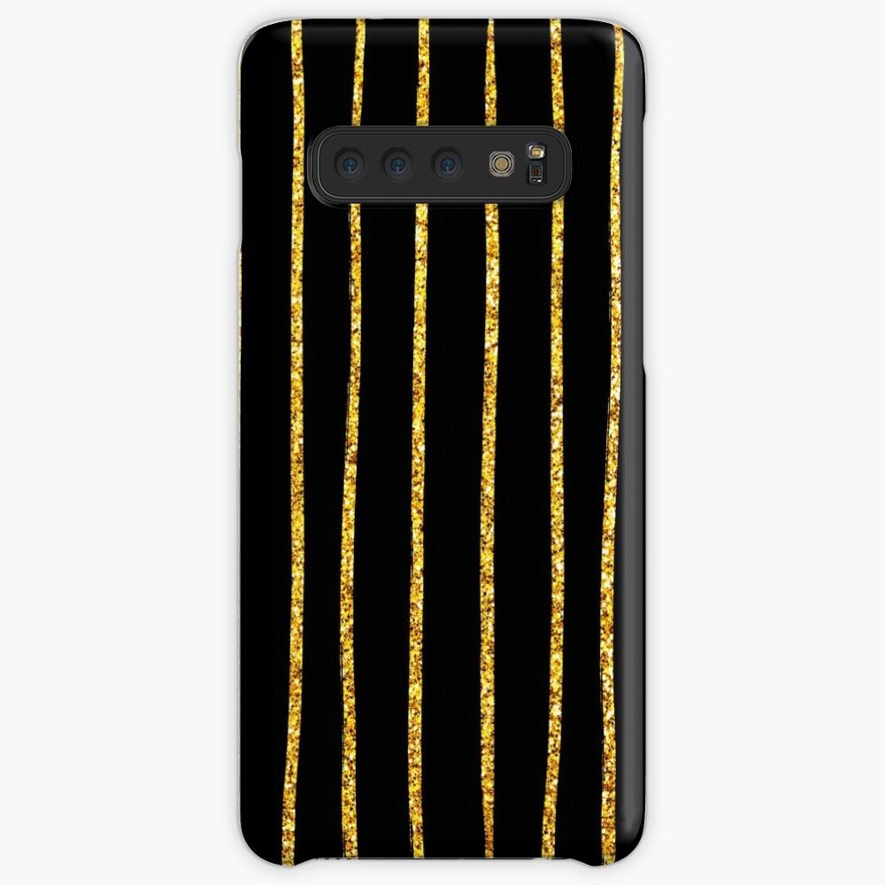 Art Deco Gold-Glitter Vertikale Linien auf schwarzem Samt Hülle & Klebefolie für Samsung Galaxy