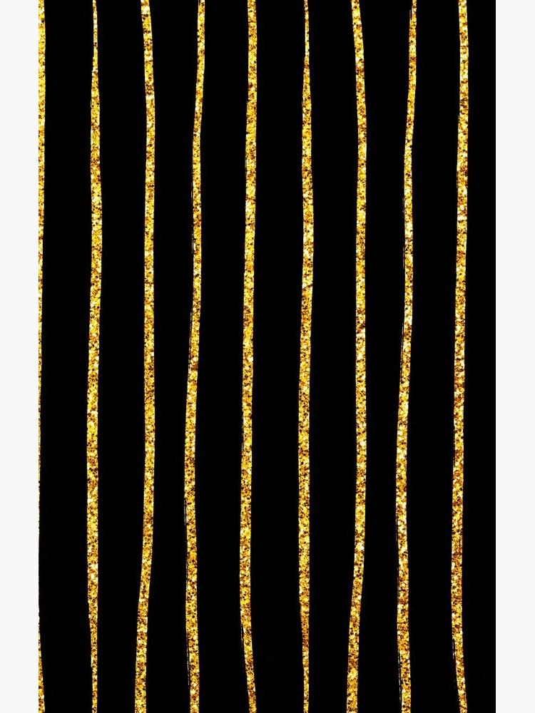 Art Deco Gold-Glitter Vertikale Linien auf schwarzem Samt von DEC02