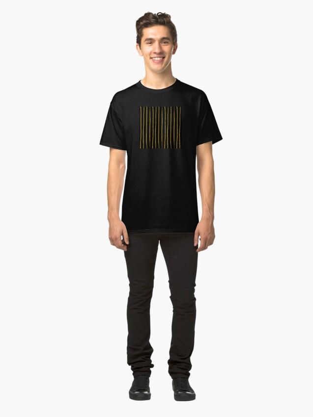 Alternative Ansicht von Art Deco Gold-Glitter Vertikale Linien auf schwarzem Samt Classic T-Shirt