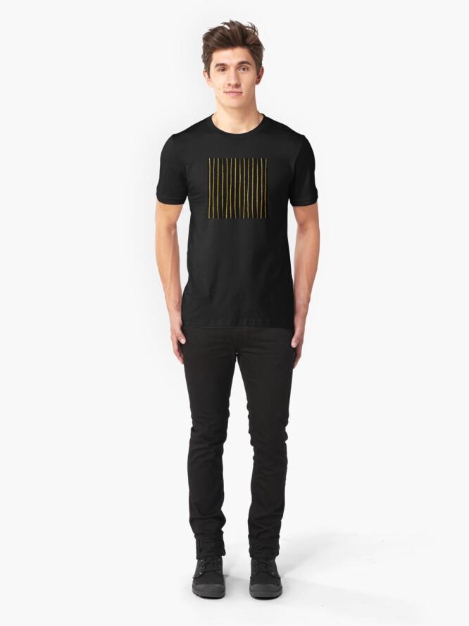 Alternative Ansicht von Art Deco Gold-Glitter Vertikale Linien auf schwarzem Samt Slim Fit T-Shirt