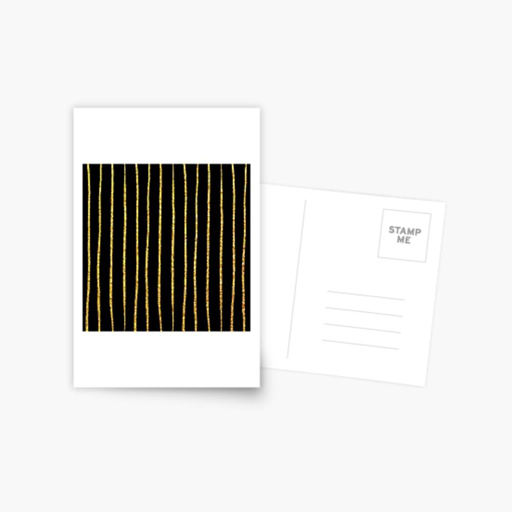 Art Deco Gold-Glitter Vertikale Linien auf schwarzem Samt Postkarte