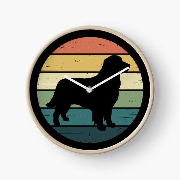 Retro Rainbow Golden Retriever Dog Clock