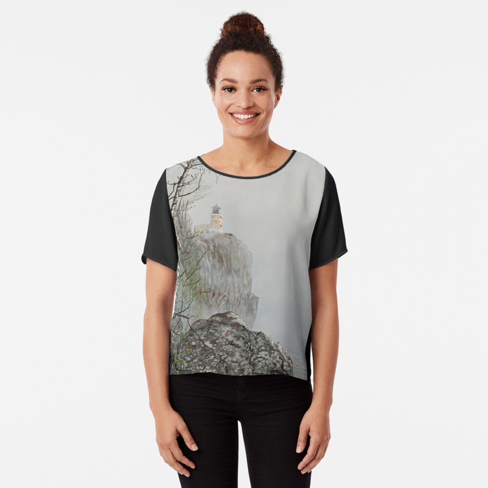 North Shore Lighthouse in the Fog Chiffon Top