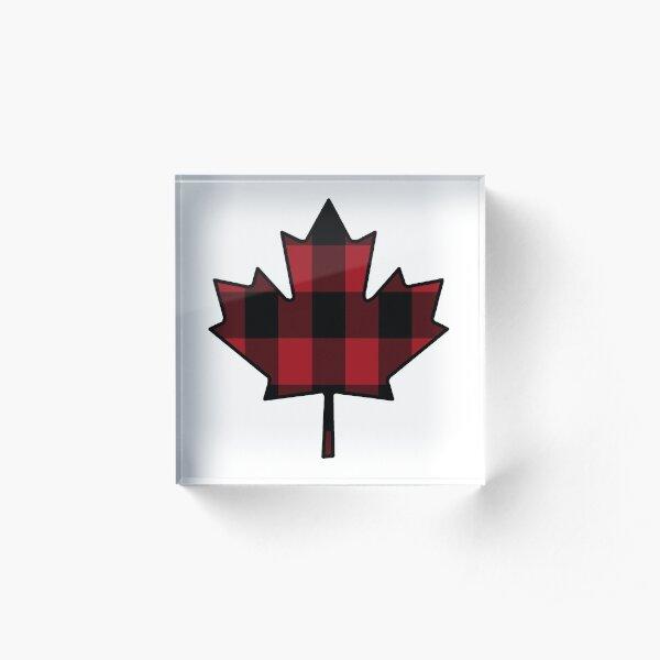 Maple Leaf in Plaid Acrylic Block