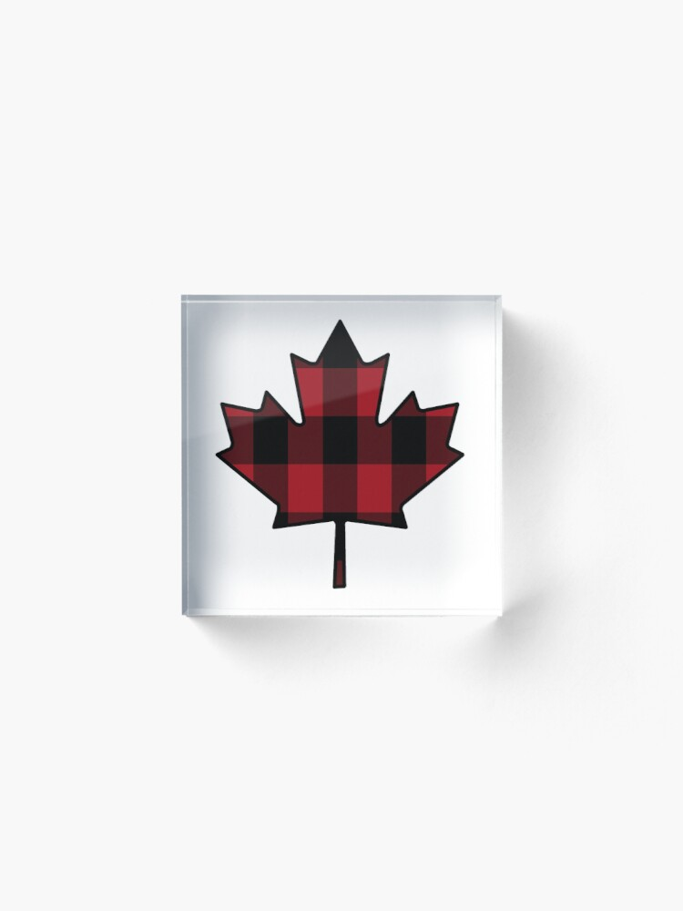 Alternate view of Maple Leaf in Plaid Acrylic Block