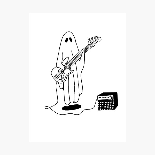 Sheet Ghost Playing Bass Photographic Print
