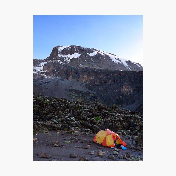 Camp at Breakfast Cliffs, Mount Kilimanjaro Photographic Print