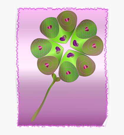 Love luck shamrock Poster