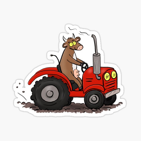 Funny cow driving a red tractor farming cartoon Sticker