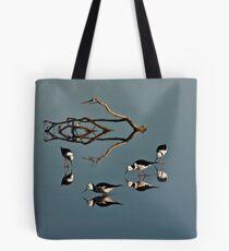 Four Black Winged Stilts Reflected Tote Bag