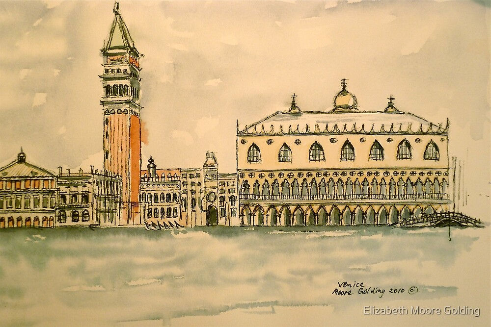 St Mark's Venice, Italy. 2010 Pen and wash.  by Elizabeth Moore Golding