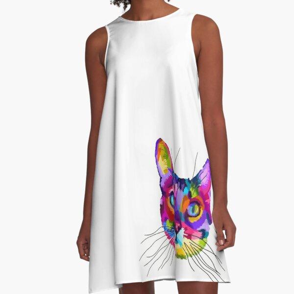 Colourful Cat face  A-Line Dress
