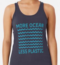 Mehr Ozean weniger Plastik-Türkis-Welle Racerback Tank Top