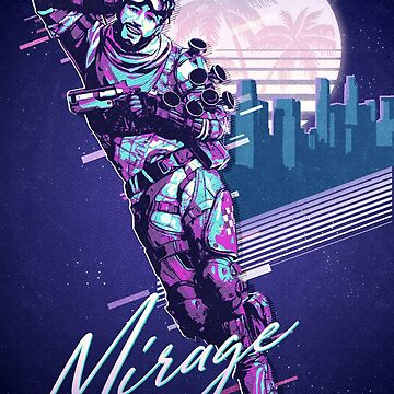 Apex Legends - Cartel retro de Vagewave 80s de Mirage de NinjaDesignInc
