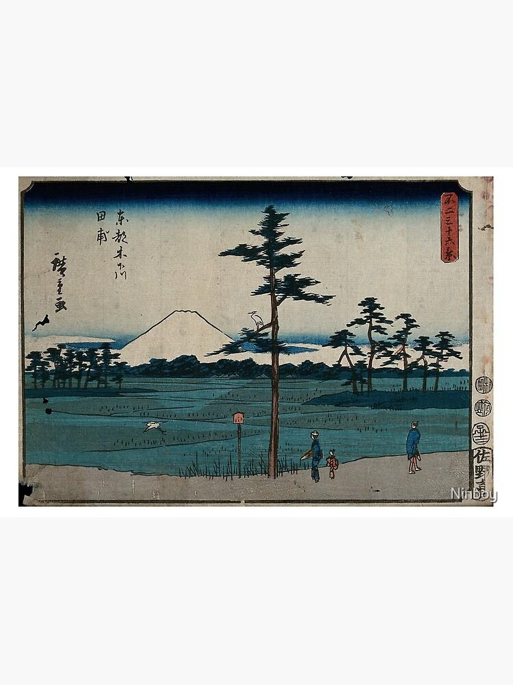 Hiroshige - 36 Views of Mount Fuji (1852) - 24: Field in Kinegawa by Ninboy