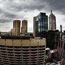 Stormy Melbourne Skyline by howieb101