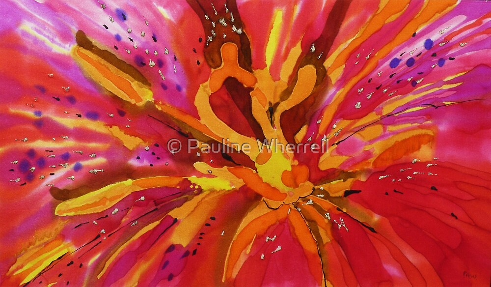 The wonder of the lily painted on silk by © Pauline Wherrell