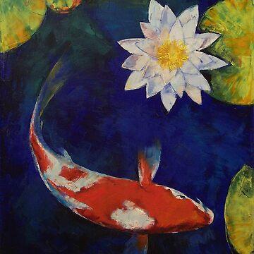 Kohaku Koi and Water Lily by michaelcreese