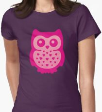Cute Pink Baby Owl Womens Fitted T-Shirt