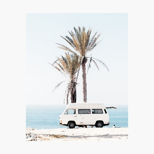Coastal, Travelling car, Palms, Beach art Sea, Ocean, Fashion art, Modern art, Wall art, Print, Minimalistic, Modern Photographic Print